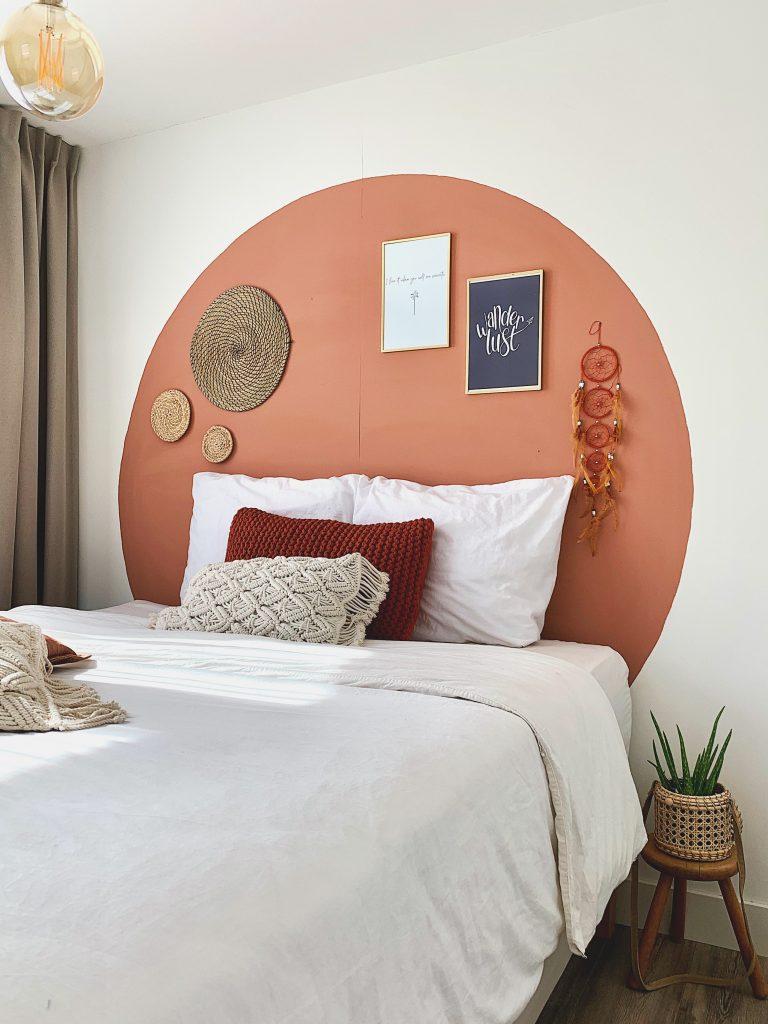 Slaapkamer interieur terracotta cirkel .